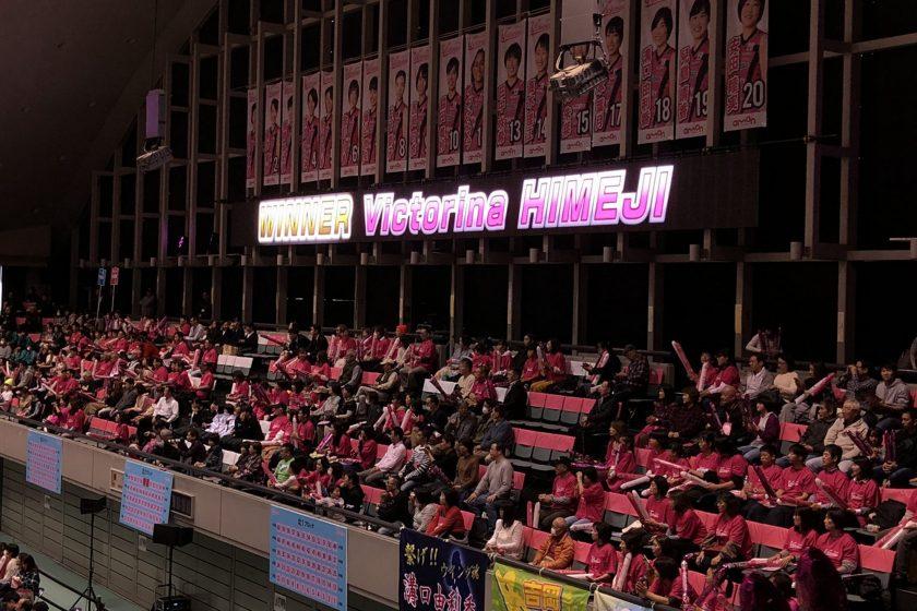 ウインク体育館(姫路市立中央体育館)可動式リボンビジョン